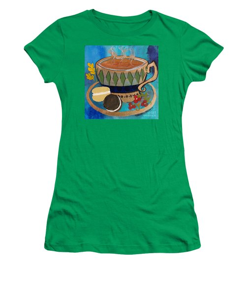 Women's T-Shirt (Junior Cut) featuring the painting Macaroons And Tea by Robin Maria Pedrero