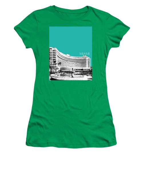 Miami Skyline Fontainebleau Hotel - Teal Women's T-Shirt (Athletic Fit)