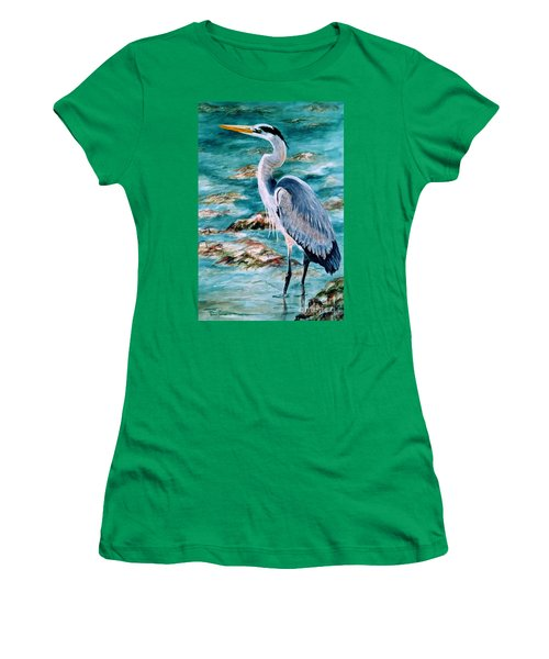 On The Rocks Great Blue Heron Women's T-Shirt (Athletic Fit)