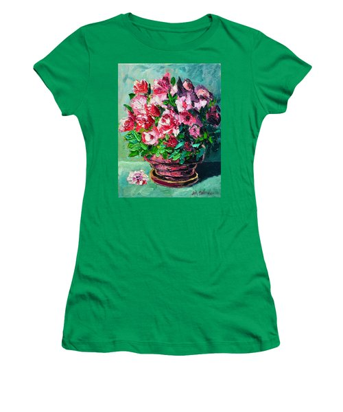 Women's T-Shirt (Junior Cut) featuring the painting Pink Flowers by Ana Maria Edulescu