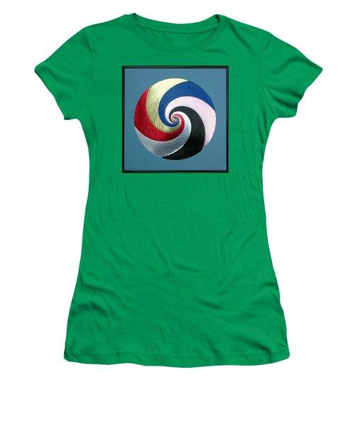 Women's T-Shirt (Junior Cut) featuring the mixed media Pinwheel by Ron Davidson
