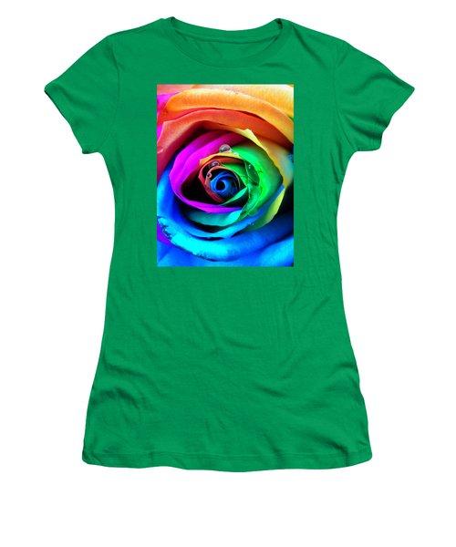 Rainbow Rose Women's T-Shirt (Athletic Fit)