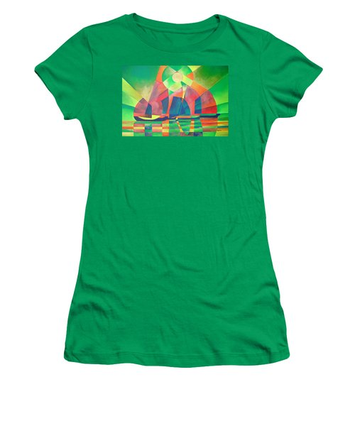 Women's T-Shirt (Junior Cut) featuring the painting Sea Of Green by Tracey Harrington-Simpson