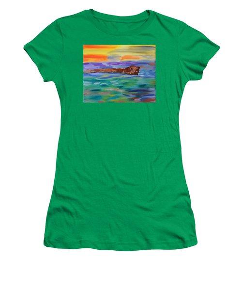 Sunny Sea Lion Women's T-Shirt (Junior Cut) by Meryl Goudey