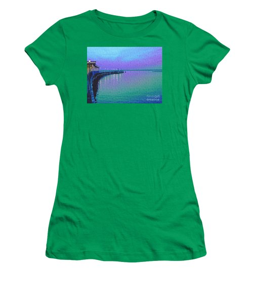 Painterly Seascape Purple Flurry Women's T-Shirt (Athletic Fit)