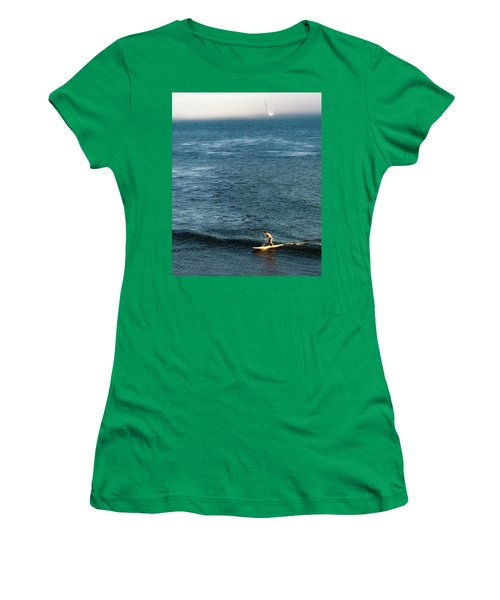 Stand-up Paddling At Sunset In Santa Women's T-Shirt