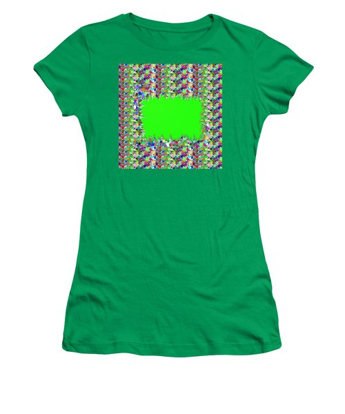 Women's T-Shirt (Junior Cut) featuring the photograph Template Art Star Sparkle And Empty Box To Add Your Image Or Text by Navin Joshi