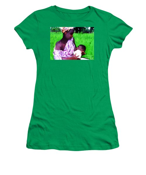 Women's T-Shirt (Junior Cut) featuring the painting The Feeding 2 by Vannetta Ferguson