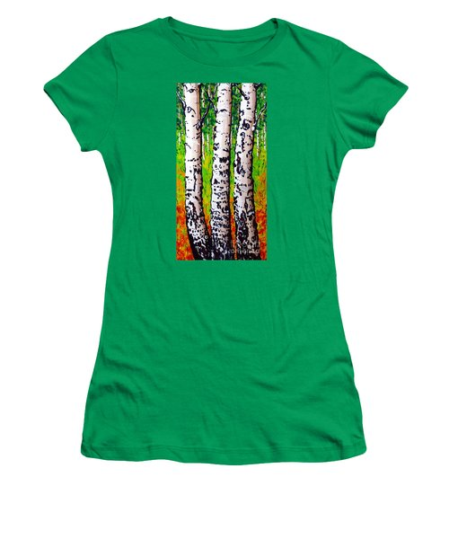 Women's T-Shirt (Junior Cut) featuring the painting Tom Dick And Harry by Jackie Carpenter