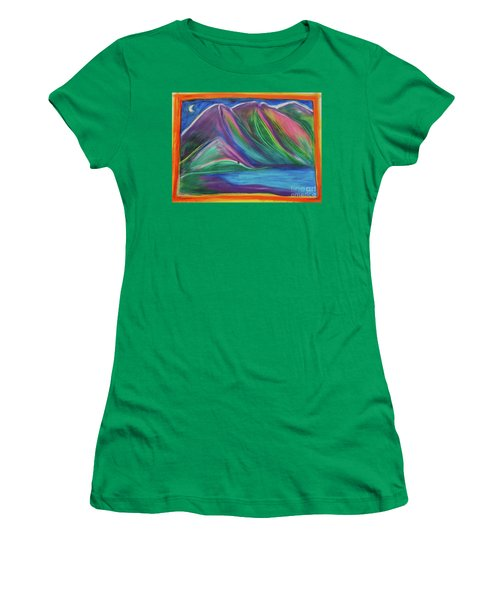 Women's T-Shirt (Junior Cut) featuring the painting Travelers Mountains By Jrr by First Star Art