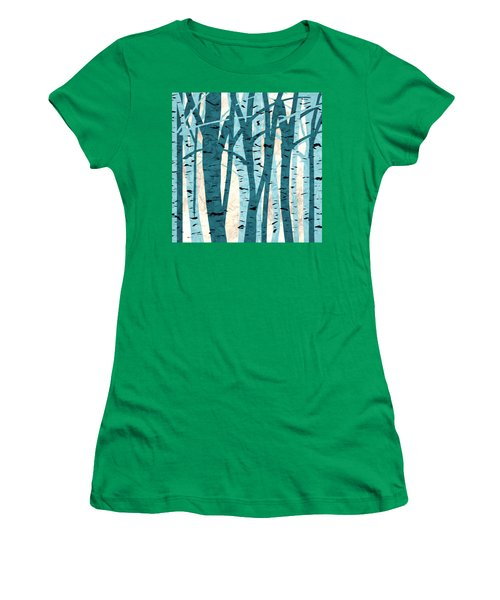 Turquoise Birch Trees Women's T-Shirt
