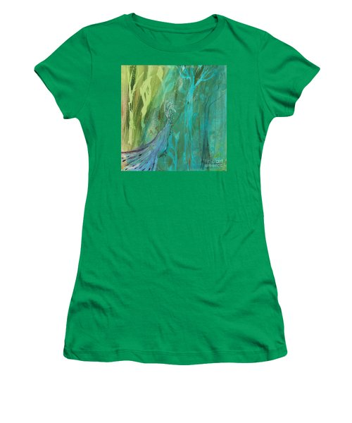 Women's T-Shirt (Junior Cut) featuring the painting Undercover Peacock by Robin Maria Pedrero