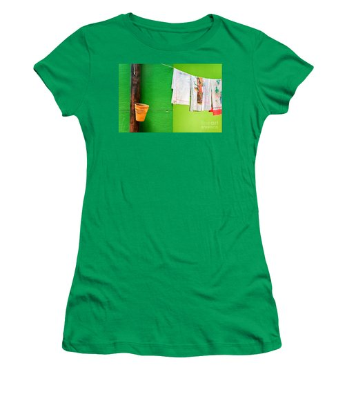Women's T-Shirt (Junior Cut) featuring the photograph Vase Towels And Green Wall by Silvia Ganora
