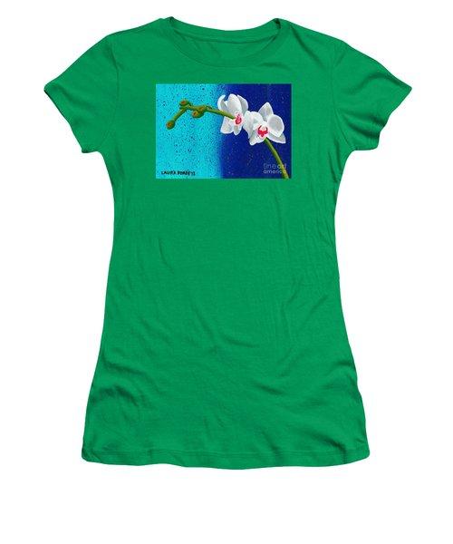 White Orchids On Blue Women's T-Shirt