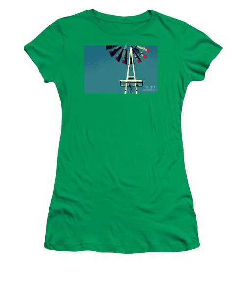 Women's T-Shirt (Junior Cut) featuring the digital art Windmill by Valerie Reeves