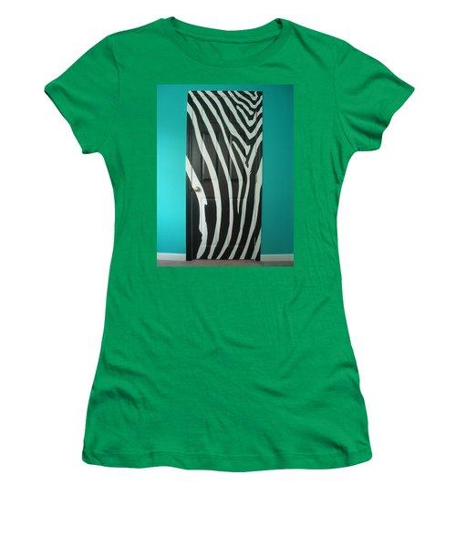 Zebra Stripe Mural - Door Number 1 Women's T-Shirt (Junior Cut) by Sean Connolly