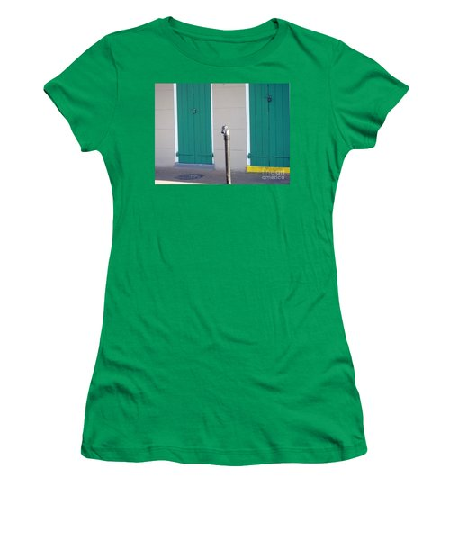 Women's T-Shirt (Junior Cut) featuring the photograph Horse Head Post With Green Doors by Alys Caviness-Gober