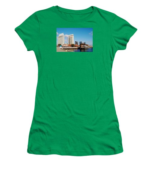 Women's T-Shirt (Junior Cut) featuring the photograph San Diego - Seaport Village by Jasna Gopic
