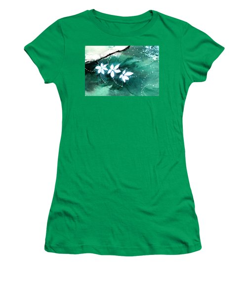 White Flowers Women's T-Shirt (Junior Cut) by Anil Nene