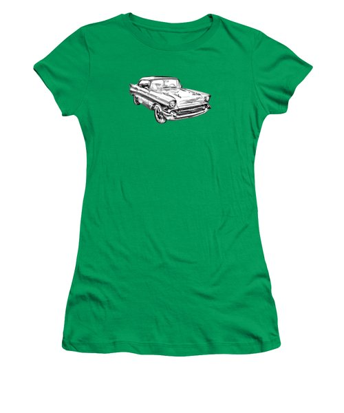 1957 Chevy Bel Air Illustration Women's T-Shirt (Junior Cut) by Keith Webber Jr