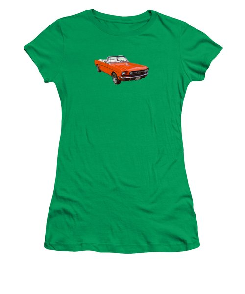 1965 Red Convertible Ford Mustang - Classic Car Women's T-Shirt (Junior Cut) by Keith Webber Jr