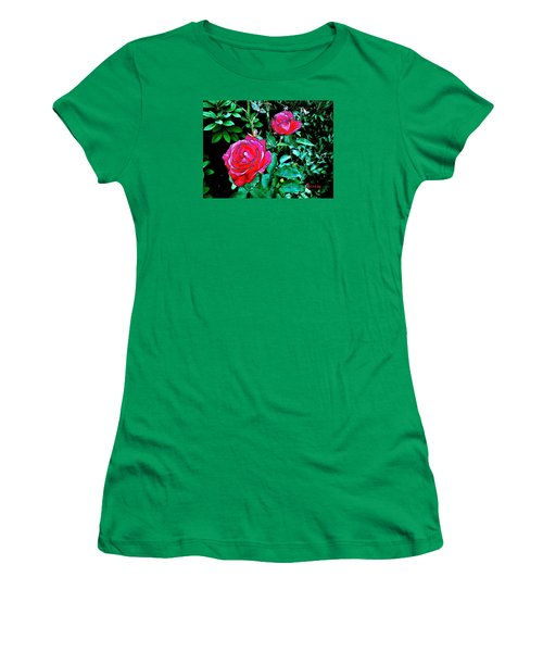 Women's T-Shirt (Junior Cut) featuring the photograph 2 Red Roses by Sadie Reneau