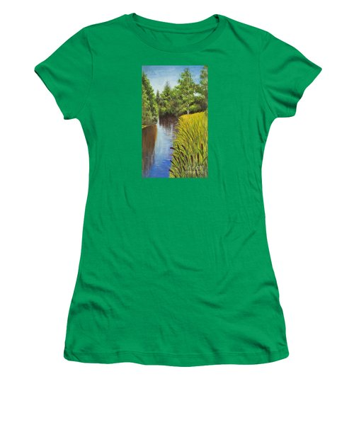 Summer Landscape, Painting Women's T-Shirt (Athletic Fit)