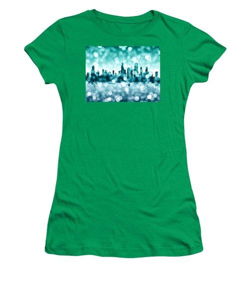 Chicago Illinois Skyline Women's T-Shirt (Junior Cut) by Michael Tompsett