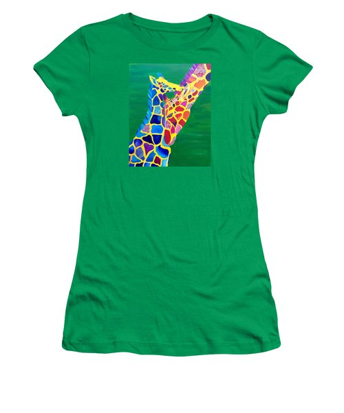 Abstract Mehndi Giraffe Mom And Baby Women's T-Shirt (Athletic Fit)