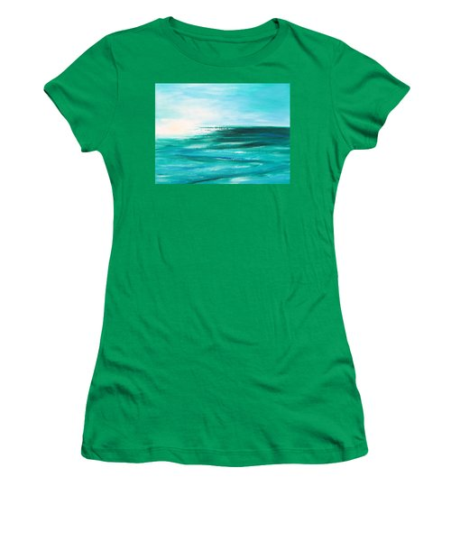 Abstract Sunset In Blue And Green 2 Women's T-Shirt (Athletic Fit)