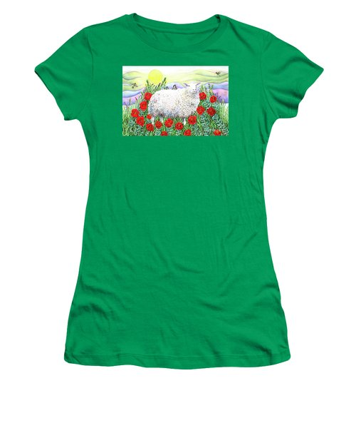 Arrival Of The Hummingbirds Women's T-Shirt (Junior Cut) by Lise Winne