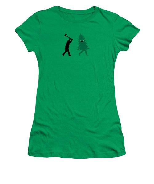 Funny Cartoon Christmas Tree Is Chased By Lumberjack Run Forrest Run Women's T-Shirt (Junior Cut) by Philipp Rietz