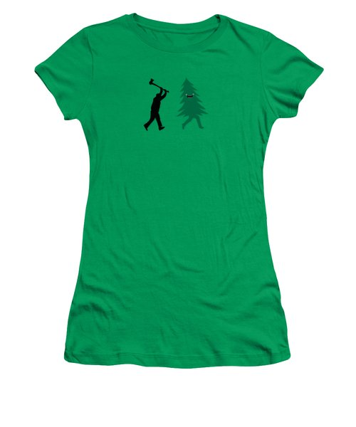 Funny Cartoon Christmas Tree Is Chased By Lumberjack Run Forrest Run Women's T-Shirt