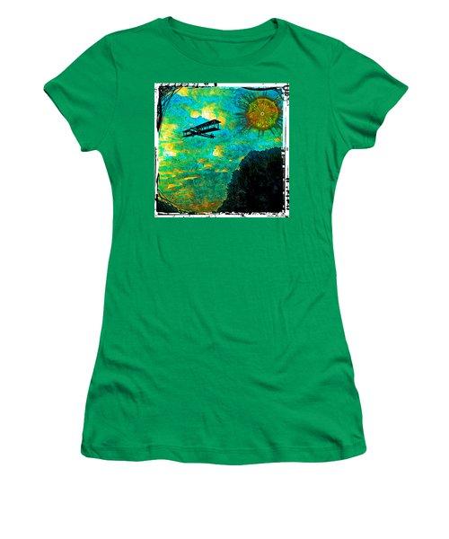 Women's T-Shirt (Junior Cut) featuring the digital art Biplane by Iowan Stone-Flowers