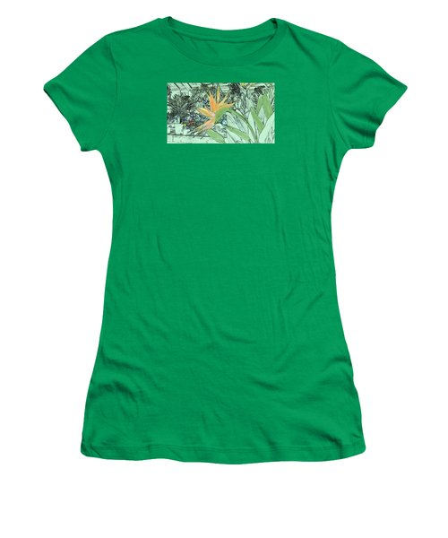 Women's T-Shirt (Athletic Fit) featuring the photograph Bird Of Paradise In The Hothouse by Nareeta Martin