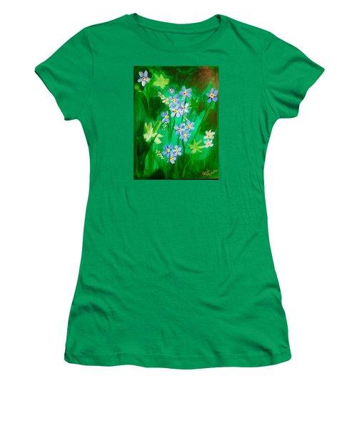 Blue Crocus Flowers Women's T-Shirt (Junior Cut) by Renee Michelle Wenker