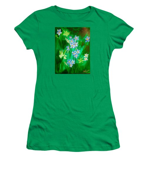 Blue Crocus Flowers Women's T-Shirt (Athletic Fit)