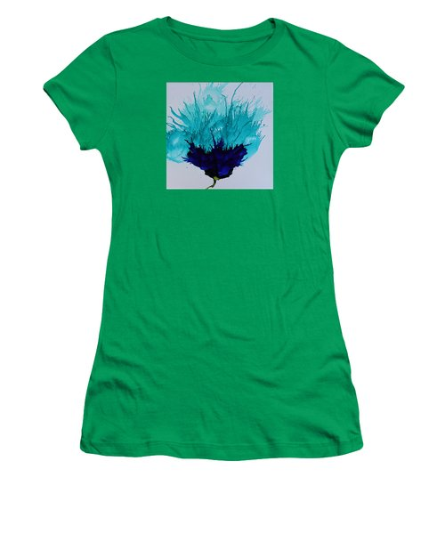 Women's T-Shirt (Junior Cut) featuring the painting Blue Thistle by Suzanne Canner