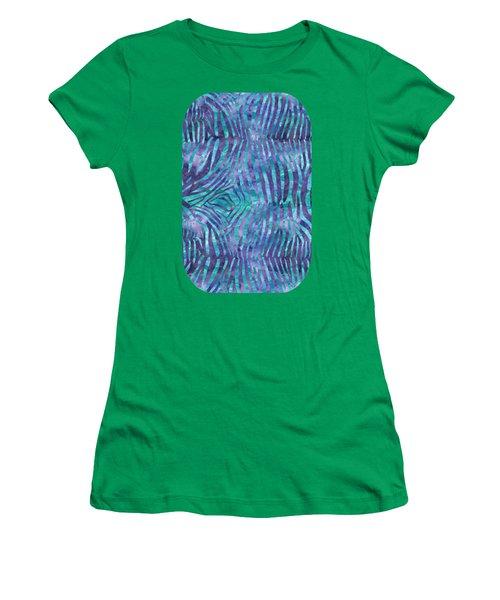 Blue Zebra Print Women's T-Shirt
