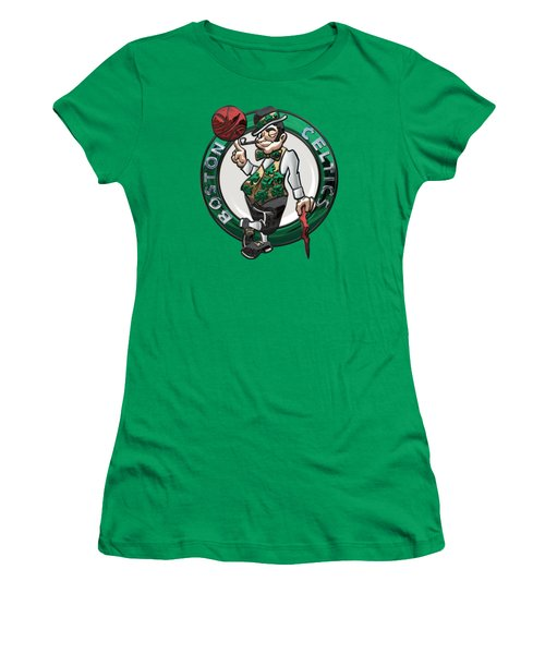 Boston Celtics - 3 D Badge Over Flag Women's T-Shirt (Athletic Fit)
