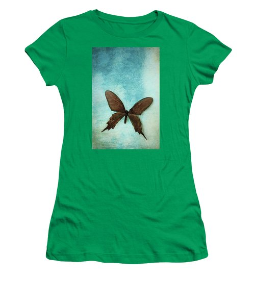 Brown Butterfly Over Blue Textured Background Women's T-Shirt