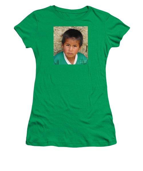 Brown Eyed Bolivian Boy Women's T-Shirt (Junior Cut) by Lew Davis