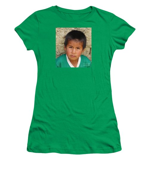 Brown Eyed Bolivian Boy Women's T-Shirt (Athletic Fit)