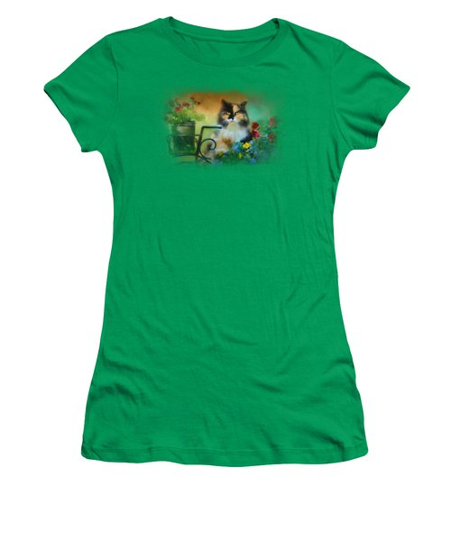 Calico In The Garden Women's T-Shirt (Athletic Fit)