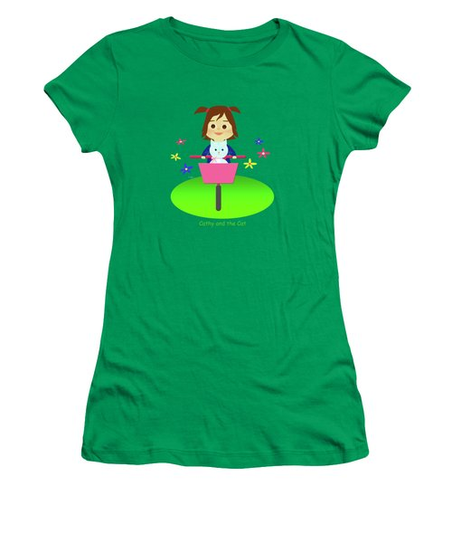 Cathy And The Cat On A Bike Women's T-Shirt