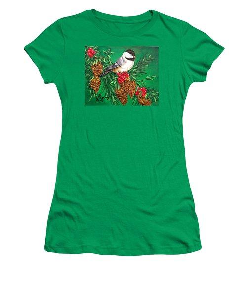 Chickadee And Pine Cones Women's T-Shirt