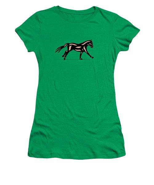Women's T-Shirt featuring the digital art Clementine - Pop Art Horse - Black, Hazelnut, Emerald by Manuel Sueess