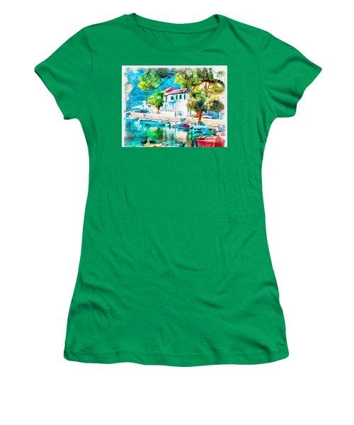 Coastal Cafe Greece Women's T-Shirt (Junior Cut) by Yanni Theodorou