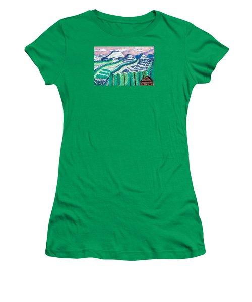 Colorado Cabin Women's T-Shirt (Junior Cut) by Don Koester