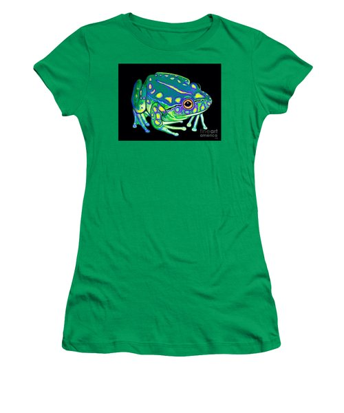 Women's T-Shirt (Junior Cut) featuring the painting Colorful Froggy 2 by Nick Gustafson